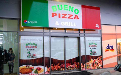 Polep spodného výkladu - Bueno Pizza & Grill