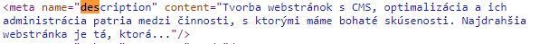 meta description v zdrojovom kóde