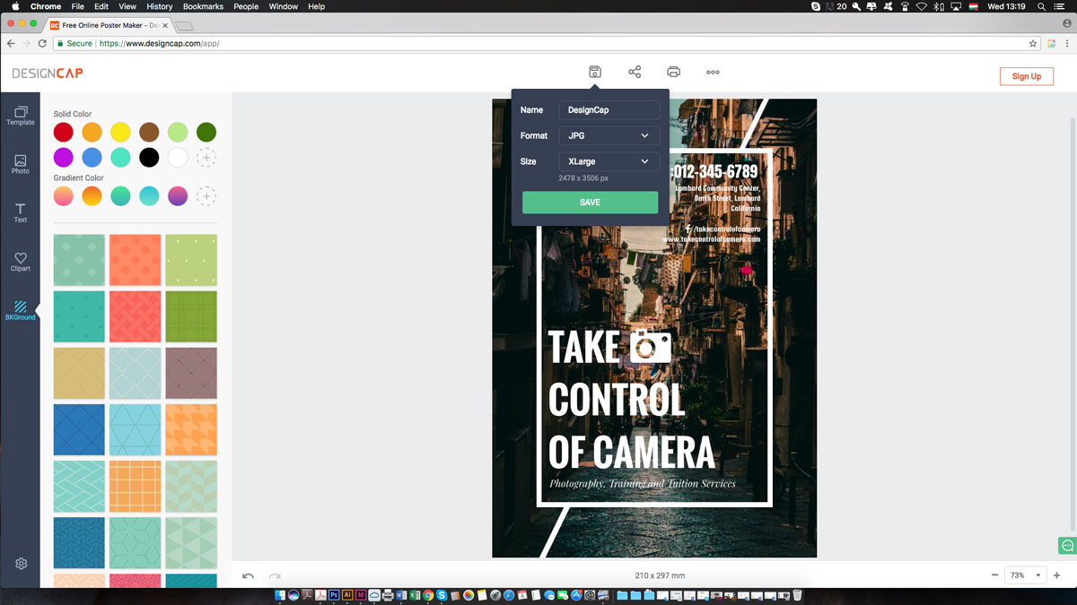 príprava plagátu v programe DesignCap.com
