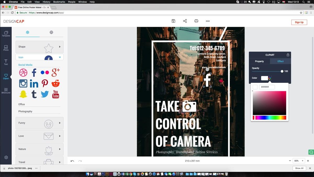 tvorba plagátu v DesignCap.com
