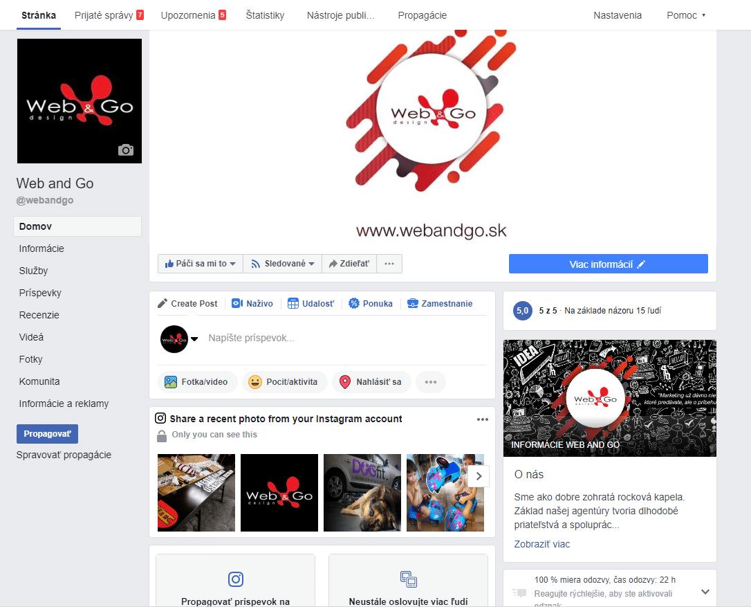 firemná facebook stránka